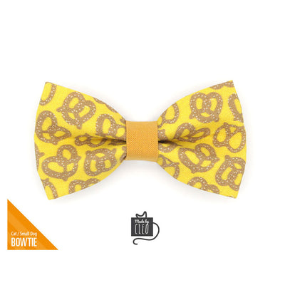 "Pet Bow Tie - ""Pretzel Twist - Mustard"" - Yellow Pretzel Bow Tie for Cat / Oktoberfest, Food / For Cats + Small Dogs (One Size)"