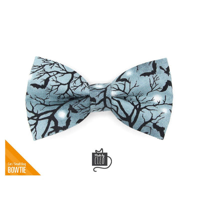 "Halloween Pet Bow Tie - ""Witching Hour"" - Midnight Gray Bats Bow Tie for Cat / For Cats + Small Dogs (One Size)"
