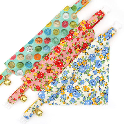"Bow Tie Cat Collar Set - ""Camilla"" - Blue & Yellow Floral Cat Collar w/ Matching Bowtie / Cat, Kitten, Small Dog Sizes"