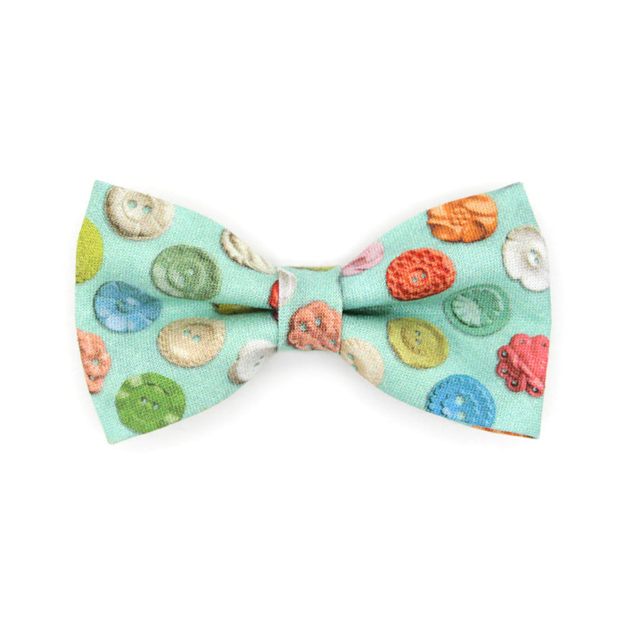 "Bow Tie Cat Collar Set - ""Rainbow Buttons"" - Colorful Button Cat Collar w/ Matching Bowtie / Cat, Kitten, Small Dog Sizes"