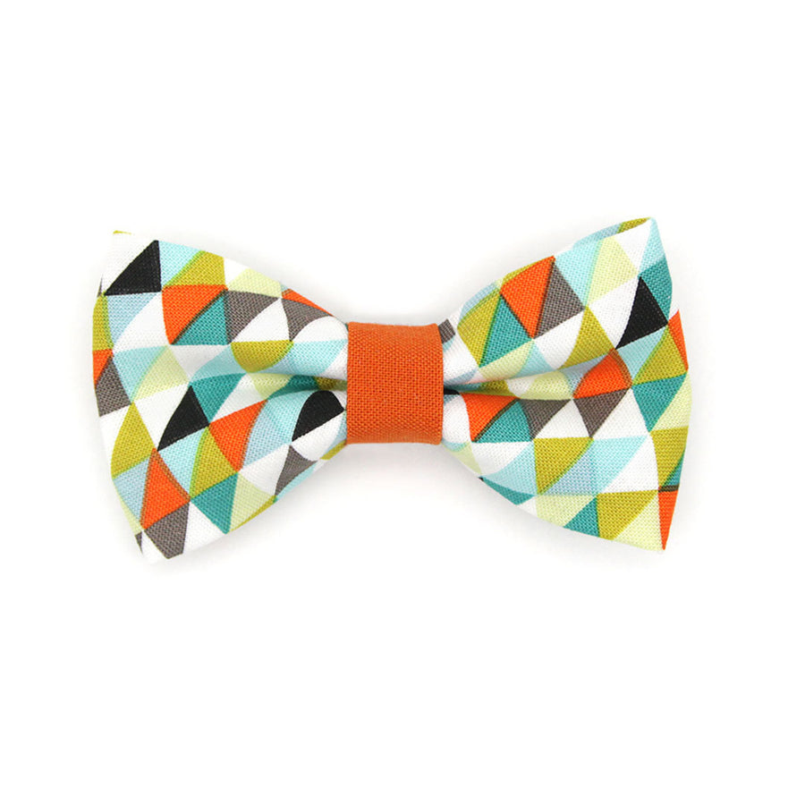 "Bow Tie Cat Collar Set - ""Zephyr"" - Modern Geometric Cat Collar w/ Matching Bowtie / Cat, Kitten, Small Dog Sizes"