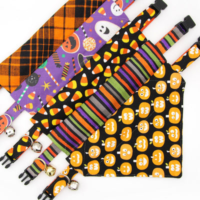 "Halloween Bow Tie Cat Collar Set - ""Wicked Ways"" - Orange, Purple & Green Striped Cat Collar w/ Matching Bowtie / Cat, Kitten, Small Dog Sizes"