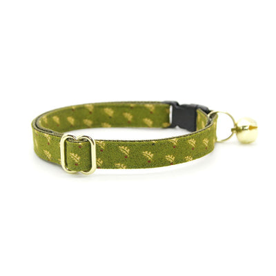 "Cat Collar + Flower Set - ""Woodmont"" - Oak Leaves on Olive Green Cat Collar w/ Mustard Felt Flower (Detachable)"