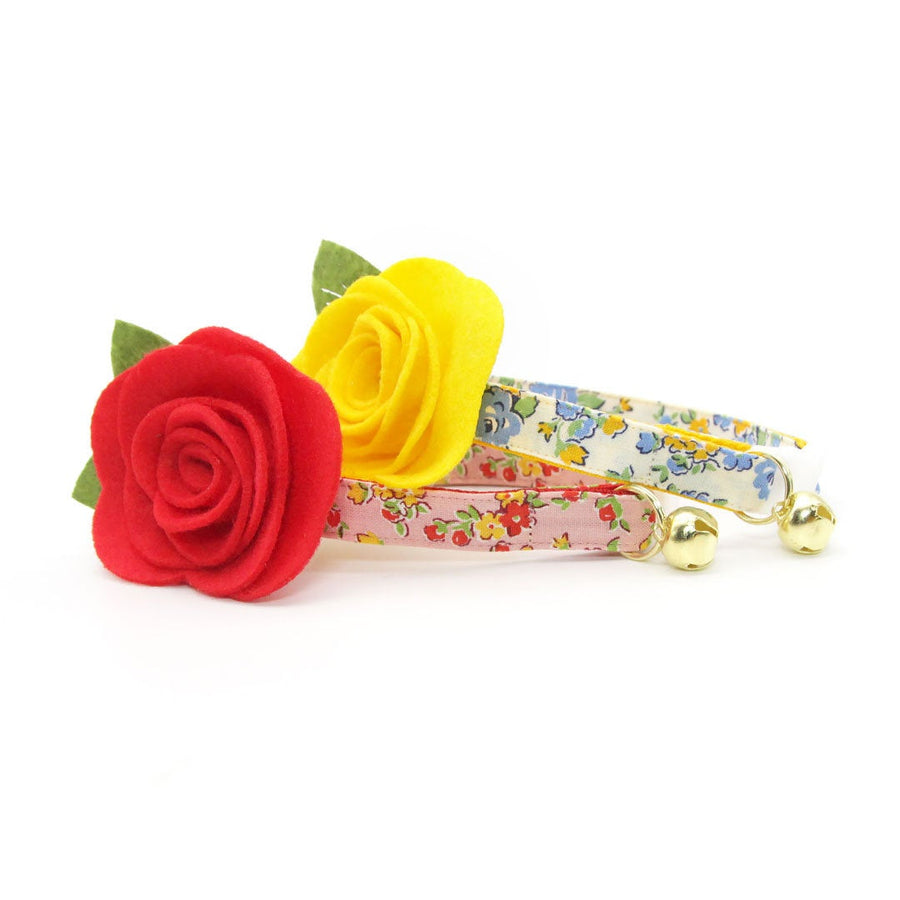 "Cat Collar + Flower Set - ""Camilla"" - Yellow Floral Cat Collar w/ Buttercup Yellow Felt Flower (Detachable)"
