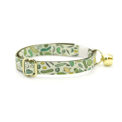 "Cat Collar + Flower Set - ""Kind of a Big Dill"" - Pickle Cat Collar w/ Leaf Green Felt Flower (Detachable)"