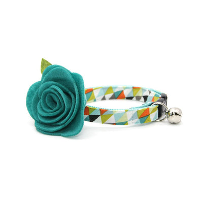 "Cat Collar + Flower Set - ""Zephyr"" - Modern Geometric Cat Collar w/ Teal Felt Flower (Detachable)"
