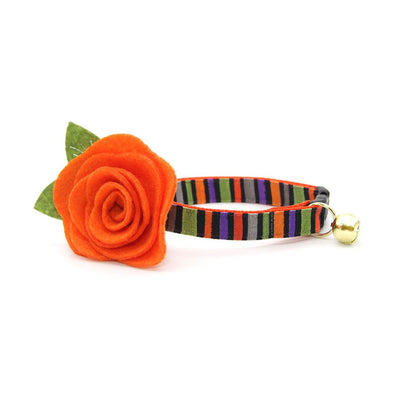 "Halloween Cat Collar + Flower Set - ""Wicked Ways"" - Striped Cat Collar w/ Orange Felt Flower (Detachable)"