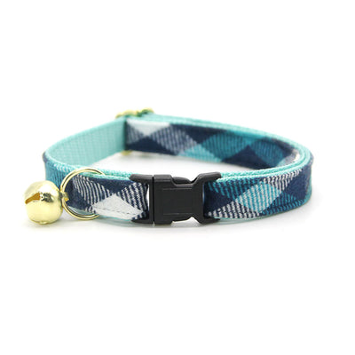 "Fall Cat Collar + Flower Set - ""Blue Ridge Mountains"" - Teal + Blue Plaid Cat Collar w/ Teal Felt Flower (Detachable)"