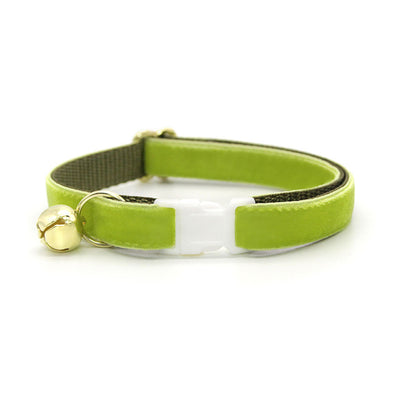 "Velvet Cat Collar + Flower Set - ""Apple Green"" - Velvet Cat Collar w/ Leaf Green Felt Flower (Detachable)"