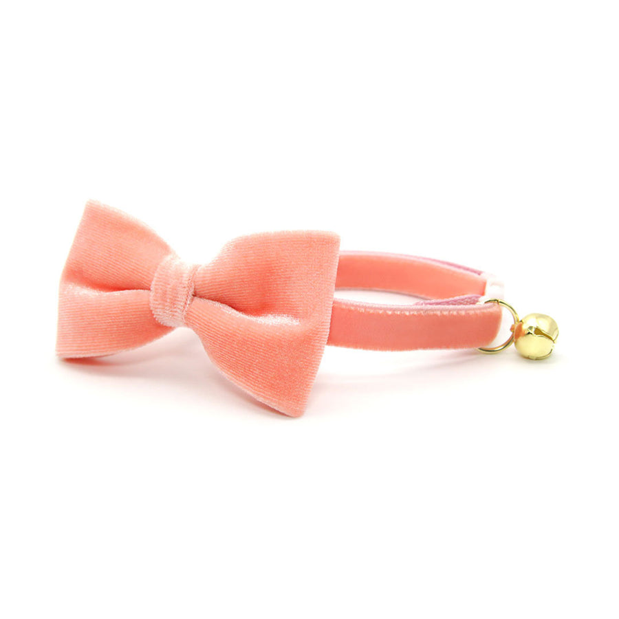 "Velvet Pet Bow Tie - ""Peach Coral Pink Velvet"" - Light Coral Pink Velvet Bow Tie for Cat / For Cats + Small Dogs (One Size)"
