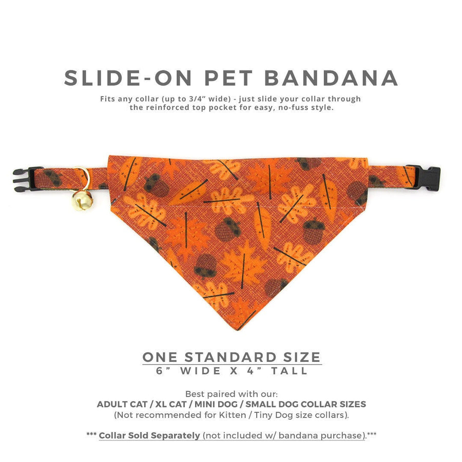 "Pet Bandana - ""Fall-ing For You"" - Autumn Leaves Bandana for Cat + Small Dog / Slide-on Bandana / Over-the-Collar (One Size)"