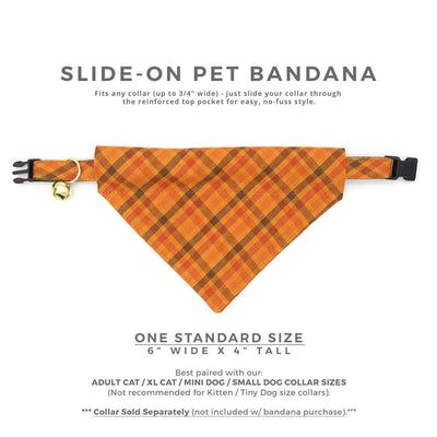 "Fall Pet Bandana - ""Persimmon Plaid"" - Orange Plaid Bandana for Cat + Small Dog / Thanksgiving / Slide-on Bandana / Over-the-Collar (One Size)"