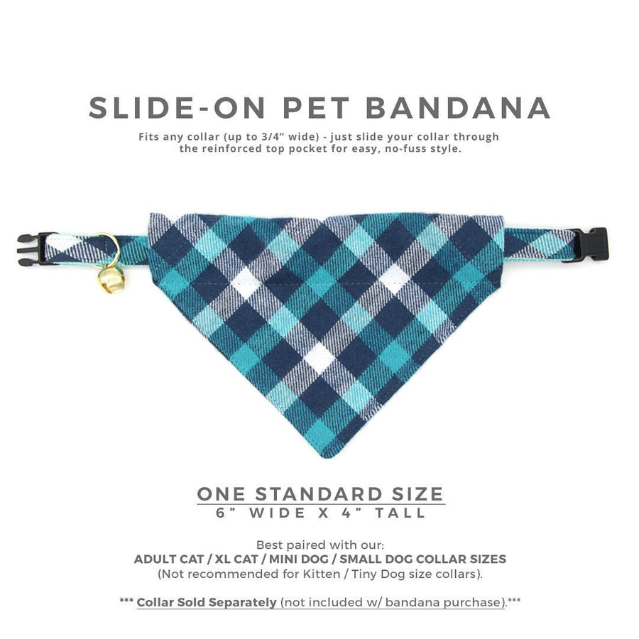 "Pet Bandana - ""Blue Ridge Mountains"" - Teal & Blue Plaid Flannel Bandana for Cat + Small Dog / Slide-on Bandana / Over-the-Collar (One Size)"