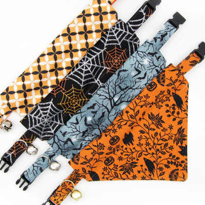"Halloween Pet Bandana - ""Witching Hour"" - Bats on Midnight Gray Bandana for Cat + Small Dog / Slide-on Bandana / Over-the-Collar (One Size)"