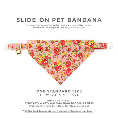 "Pet Bandana - ""Maeve"" - Red, Yellow, Pink Floral Bandana for Cat + Small Dog / Slide-on Bandana / Over-the-Collar (One Size)"