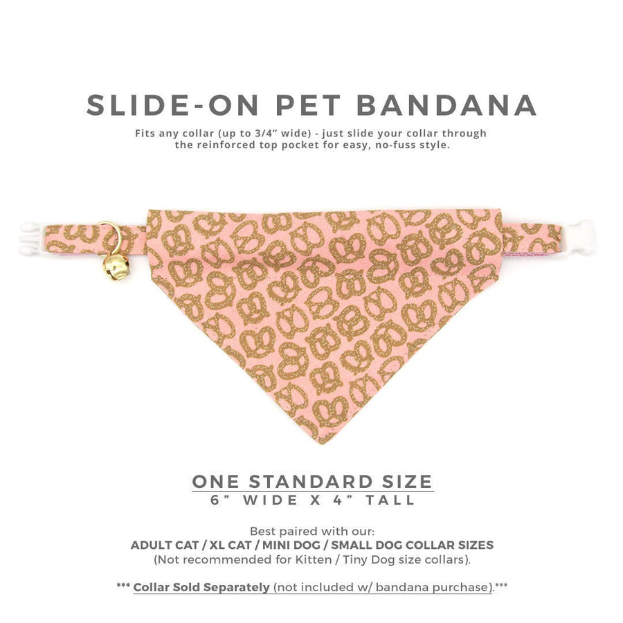 "Pet Bandana - ""Pretzel Twist - Pink"" - Pretzel Bandana for Cat + Small Dog / Food, Oktoberfest / Slide-on Bandana / Over-the-Collar (One Size)"