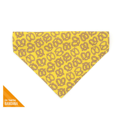 "Pet Bandana - ""Pretzel Twist - Mustard Yellow"" - Pretzel Bandana for Cat + Small Dog / Food, Oktoberfest / Slide-on Bandana / Over-the-Collar (One Size)"