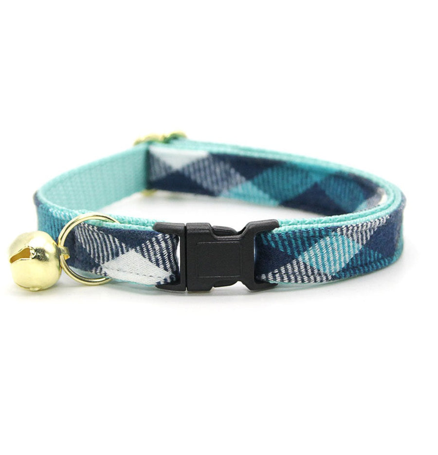 "Cat Collar - ""Blue Ridge Mountains"" - Teal + Blue Plaid Cat Collar / Breakaway Buckle or Non-Breakaway / Cat, Kitten + Small Dog Sizes"