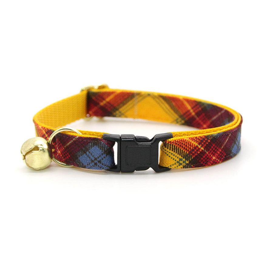 "Cat Collar - ""Grunge City"" - Rust Red, Blue, Yellow Plaid Cat Collar / Breakaway Buckle or Non-Breakaway / Cat, Kitten + Small Dog Sizes"