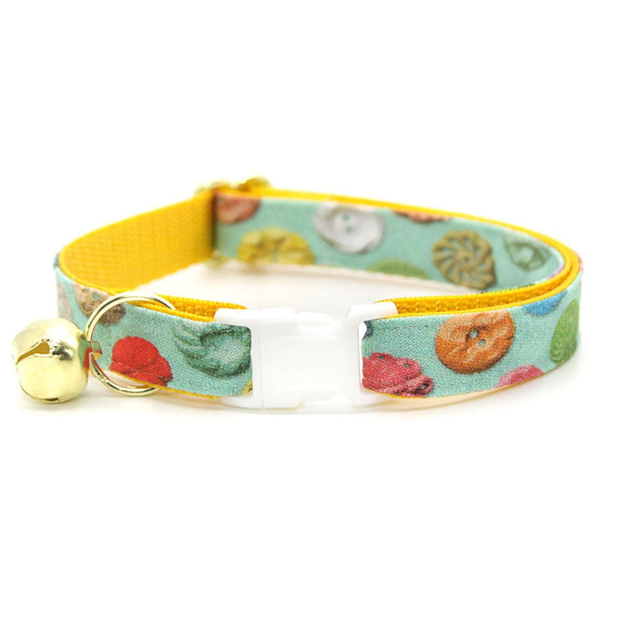 "Cat Collar - ""Rainbow Buttons"" - Buttons on Mint Cat Collar / Breakaway Buckle or Non-Breakaway / Cat, Kitten + Small Dog Sizes"