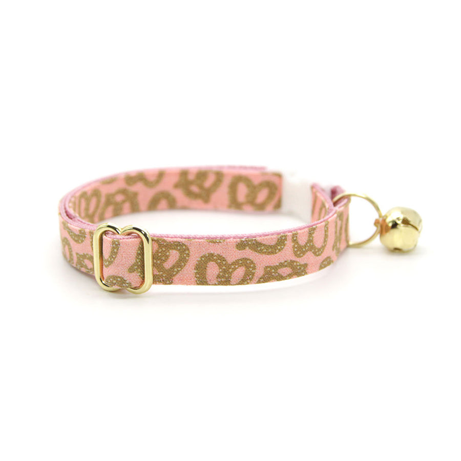 "Cat Collar - ""Pretzel Twist - Pink"" - Pretzel Cat Collar / Oktoberbest, Food / Breakaway Buckle or Non-Breakaway / Cat, Kitten + Small Dog Sizes"