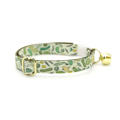 "Cat Collar - ""Kind of a Big Dill"" - Pickle Cat Collar / Cucumber, Food / Breakaway Buckle or Non-Breakaway / Cat, Kitten + Small Dog Sizes"