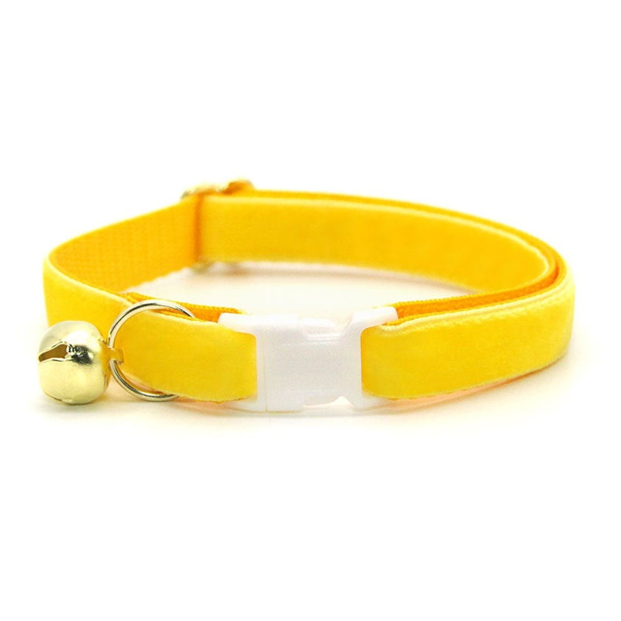 "Velvet Cat Collar - ""Lemon Yellow"" - Luxury Velvet Cat Collar / Breakaway Buckle or Non-Breakaway / Cat, Kitten + Small Dog Sizes"