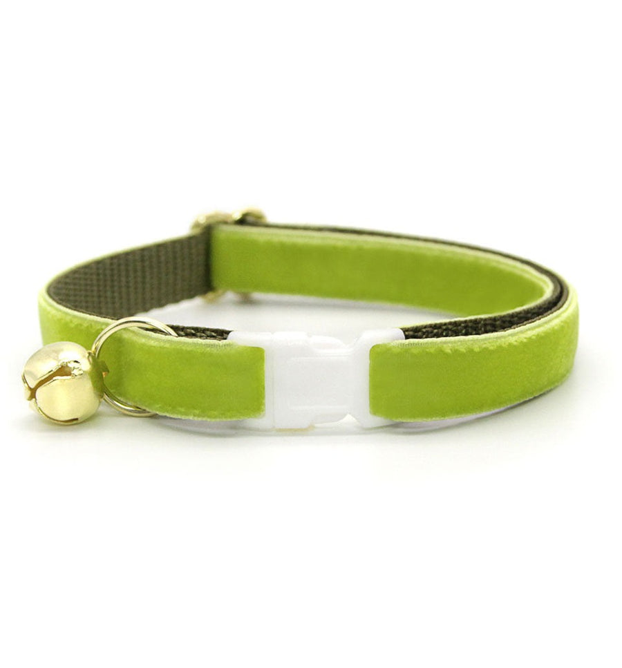 "Velvet Cat Collar - ""Apple Green"" - Luxury Velvet Cat Collar / Breakaway Buckle or Non-Breakaway / Cat, Kitten + Small Dog Sizes"
