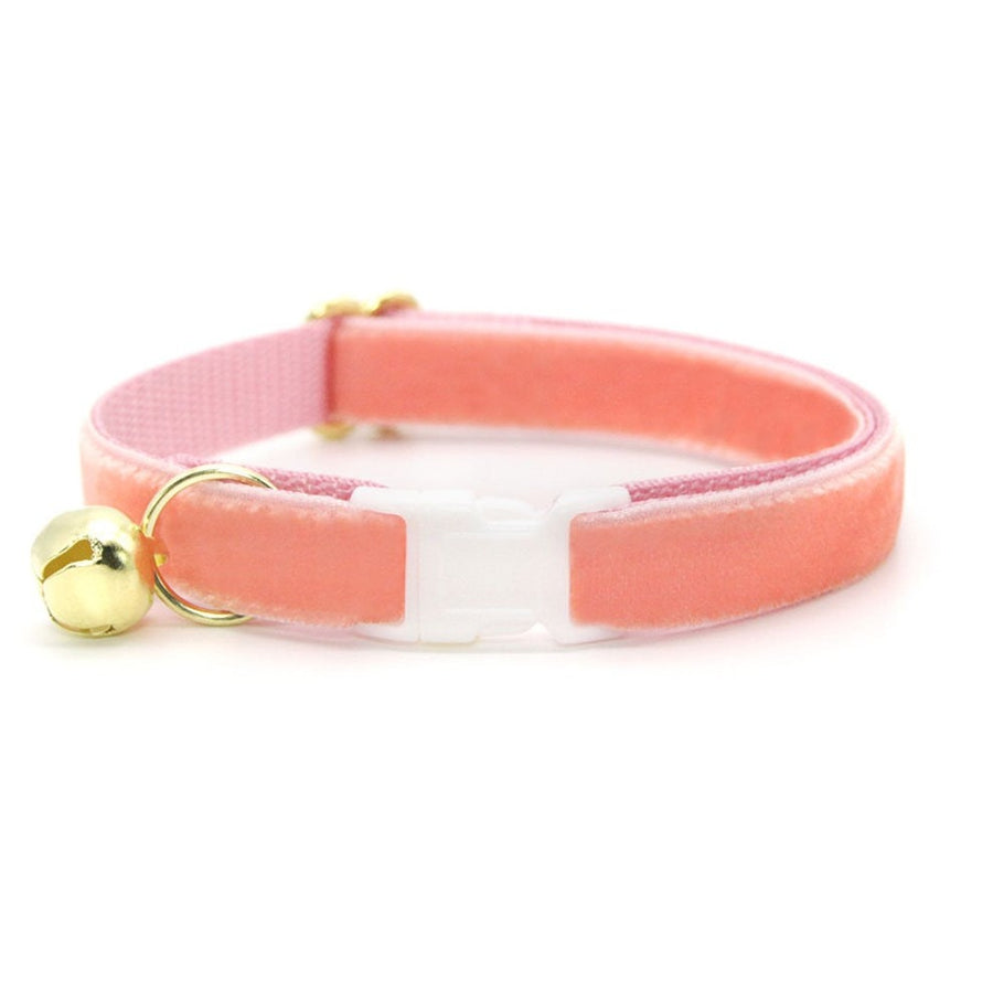 "Velvet Cat Collar - ""Peach Coral Pink"" - Luxury Velvet Cat Collar / Breakaway Buckle or Non-Breakaway / Cat, Kitten + Small Dog Sizes"