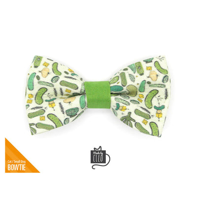"Pet Bow Tie - ""Kind of a Big Dill"" - Green Pickle Bow Tie for Cat / Cucumber, Food / For Cats + Small Dogs (One Size)"