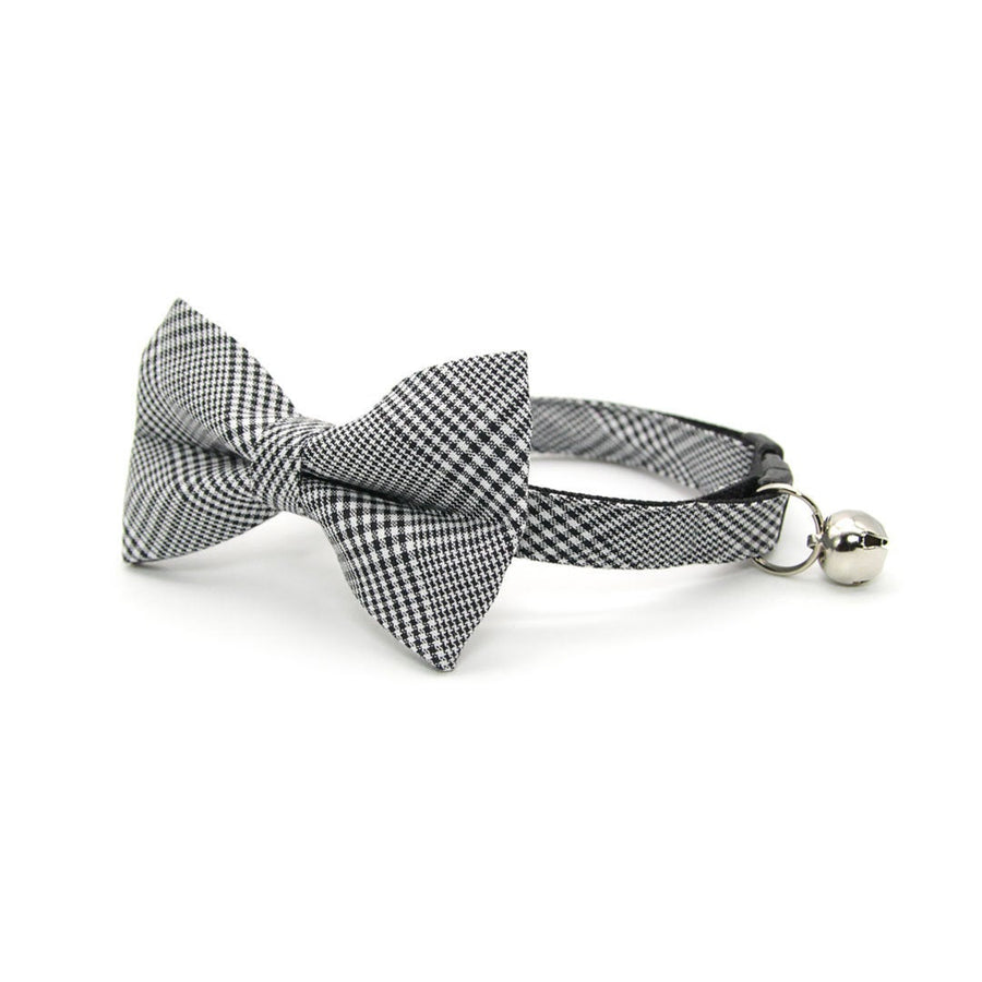 "Pet Bow Tie - ""Inverness"" - Black Plaid Bow Tie for Cat / Glen Plaid / Fall, Winter, Neutral / For Cats + Small Dogs (One Size)"