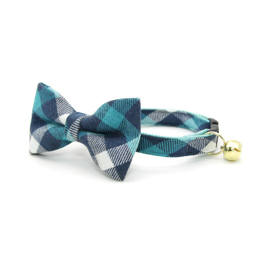 "Pet Bow Tie - ""Blue Ridge Mountains"" - Teal + Blue Plaid Bow Tie for Cat / Flannel, Fall, Winter / For Cats + Small Dogs (One Size)"