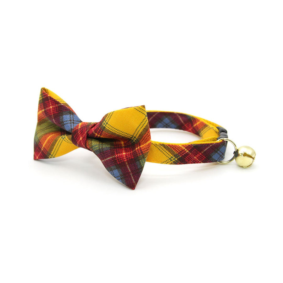 "Pet Bow Tie - ""Grunge City"" - Rust Red, Yellow & Blue Plaid Bow Tie for Cat / For Cats + Small Dogs (One Size)"