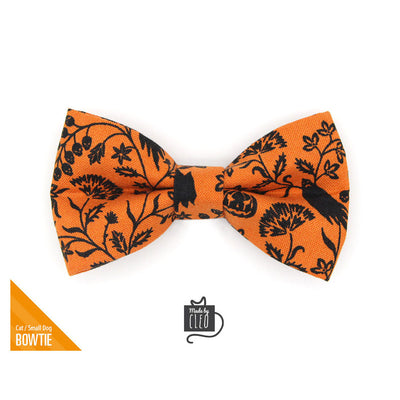 "Halloween Pet Bow Tie - ""Gothic Halloween"" - Black & Orange Bow Tie for Cat / Spooky Floral / For Cats + Small Dogs (One Size)"