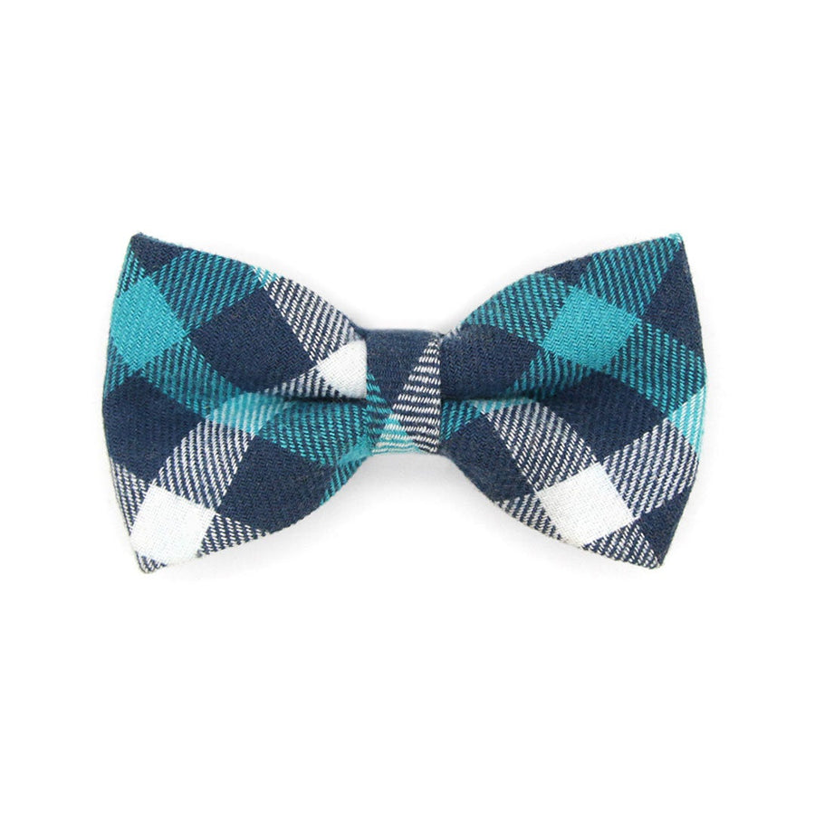 "Bow Tie Cat Collar Set - ""Blue Ridge Mountains"" - Teal & Blue Plaid Cat Collar w/ Matching Bowtie / Cat, Kitten, Small Dog Sizes"