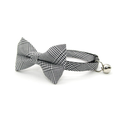 "Bow Tie Cat Collar Set - ""Inverness"" - Black Plaid Cat Collar w/ Matching Bowtie / Cat, Kitten, Small Dog Sizes"