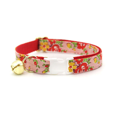 "Cat Collar + Flower Set - ""Maeve"" - Red & Pink Floral Cat Collar w/ Scarlet Red Felt Flower (Detachable)"