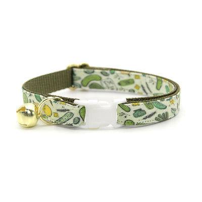 "Cat Collar + Flower Set - ""Kind of a Big Dill"" - Pickle Cat Collar w/ Buttercup Yellow Felt Flower (Detachable)"