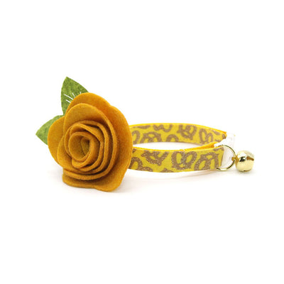 "Cat Collar + Flower Set - ""Pretzel Twist - Mustard"" - Yellow Pretzel Cat Collar w / Mustard Felt Flower (Detachable)"