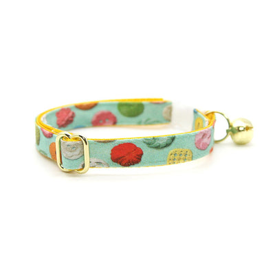 "Cat Collar + Flower Set - ""Rainbow Buttons"" - Mint Cat Collar w/ Buttercup Yellow Felt Flower (Detachable)"