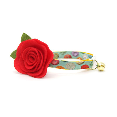 "Cat Collar + Flower Set - ""Rainbow Buttons"" - Mint Cat Collar w/ Scarlet Red Felt Flower (Detachable)"