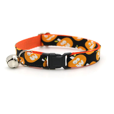 "Halloween Cat Collar + Flower Set - ""Jolly Jack-o-Lanterns"" - Pumpkin Cat Collar w/ Orange Felt Flower (Detachable)"