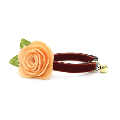 "Velvet Cat Collar + Flower Set - ""Mahogany"" - Russet Brown Velvet Cat Collar w/ Peach Felt Flower (Detachable)"