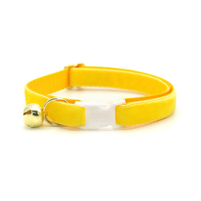 "Velvet Cat Collar + Flower Set - ""Lemon Yellow"" - Velvet Cat Collar w/ Buttercup Yellow Felt Flower (Detachable)"