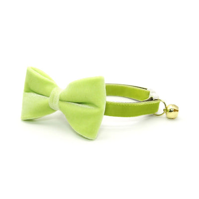 "Velvet Pet Bow Tie - ""Apple Green Velvet"" - Light Green Velvet Bow Tie for Cat / For Cats + Small Dogs (One Size)"