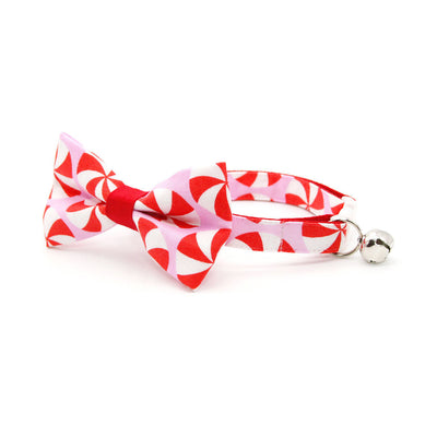 "Bow Tie Cat Collar Set - ""Lollipop Pink"" - Red Peppermint Candy Cat Collar w/ Matching Bowtie (Removable)"