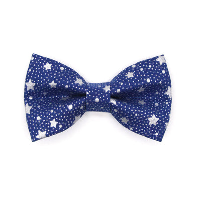 "Bow Tie Cat Collar Set - ""Starshine Blue"" - Blue & Silver Star Cat Collar w/ Matching Bowtie (Removable)"