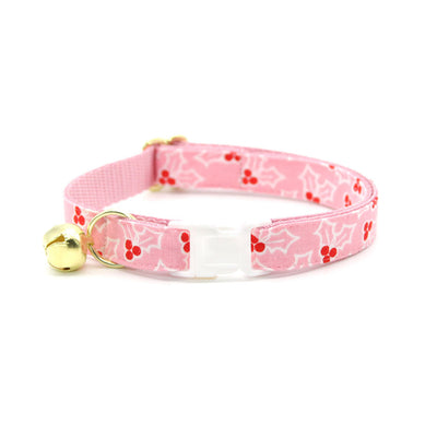 "Cat Collar + Flower Set - ""Holly Pink"" - Holly Berries Cat Collar w/ Baby Pink Felt Flower (Detachable)"
