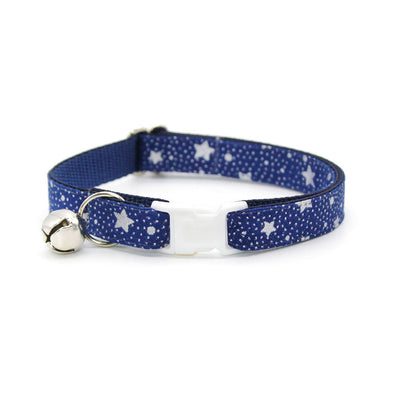 "Cat Collar + Flower Set - ""Starshine Blue"" - Blue & Silver Star Holiday Cat Collar w/ Ivory Felt Flower (Detachable)"