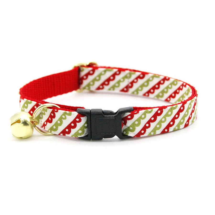 "Christmas Cat Collar - ""Victorian Holiday"" - Red & Green Cat Collar - Breakaway Buckle or Non-Breakaway / Cat, Kitten + Small Dog Sizes"